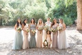 Bridesmaids in light grey blue pink purple champagne dresses for wedding santa barbara strapless