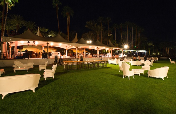Coachella venue wedding reception with lounge furniture rentals