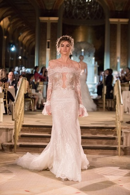 Idan Cohen Fall Winter 2018 Empire of Love wedding dress off shoulder long sleeve lace gown plunge