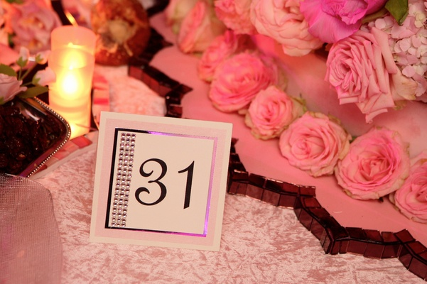 Pink and white table number with silver border and crystals
