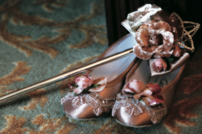 Purple ballet flats with beads, flowers, and lace