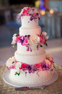 white wedding cake with purple flowers pink amp purple garden inspired tented wedding in new york 27416