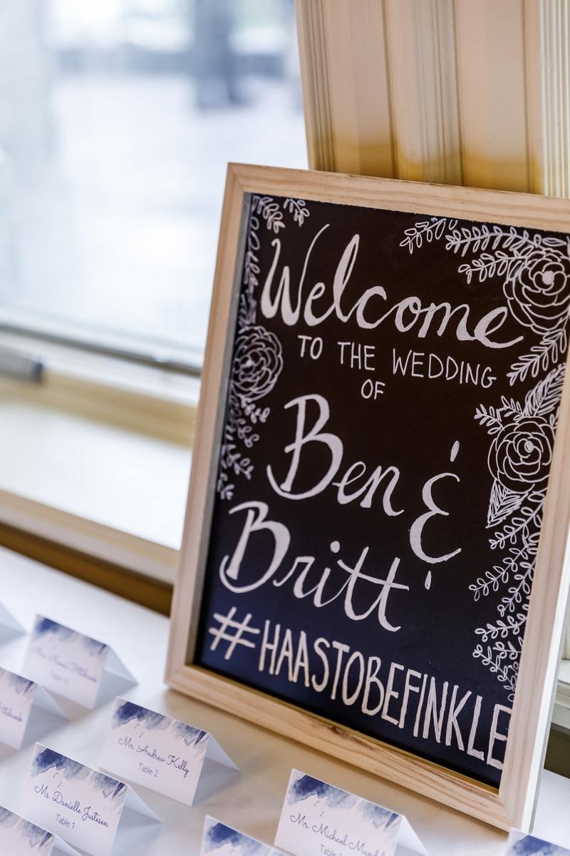 chalkboard wedding welcome sign with wedding hashtag