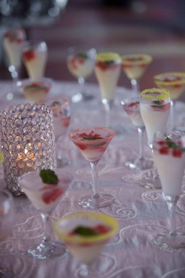 Mojitos in martini and champagne glasses with salt rims