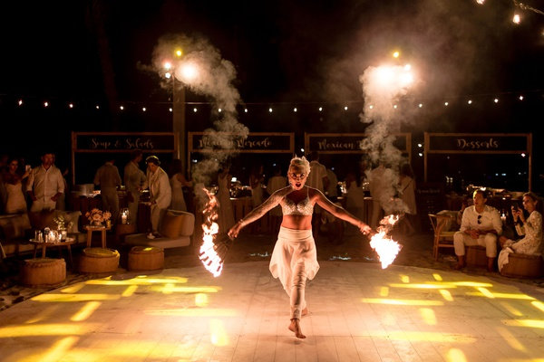 unique wedding reception performer fire dancer, fire dancer at destination wedding