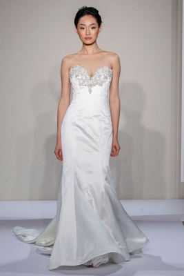 Dennis Basso 2016 strapless fit and flare wedding dress with beaded sweetheart neckline