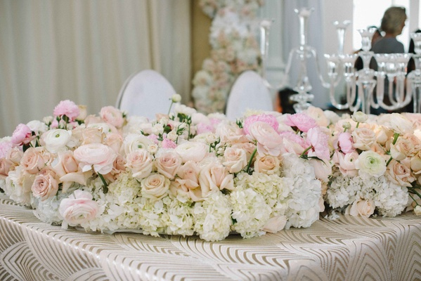 floral wedding table runner with peach and pink roses hydrangea peony ranunculuses