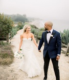 bride in strapless wedding dress and groom shane vereen nfl player in suit navy with black pants
