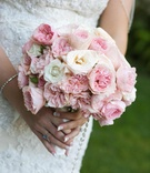Bridal wedding bouquet with pink and white roses