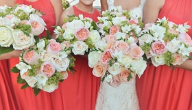 White rose and ivory rose bouquet with pink and peach garden roses