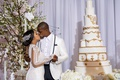 shannon and tahir whitehead kiss wedding cake white gold masterpiece second galia lahav wedding gown