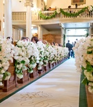 Church wedding decorations with custom aisle runner