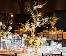 Wedding reception rustic branch tree centerpiece with flowers and candle votives green brown colors