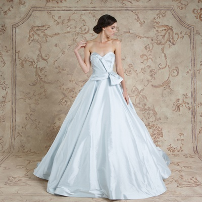 Strapless light blue wedding dress ball gown with bow