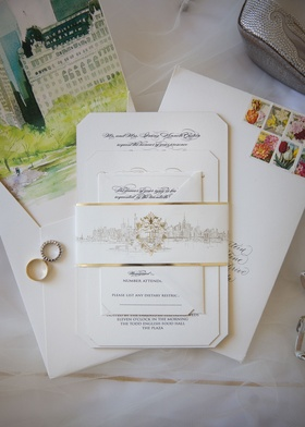 Opulent New York City wedding invitation calligraphy invite with gold decorations and watercolor
