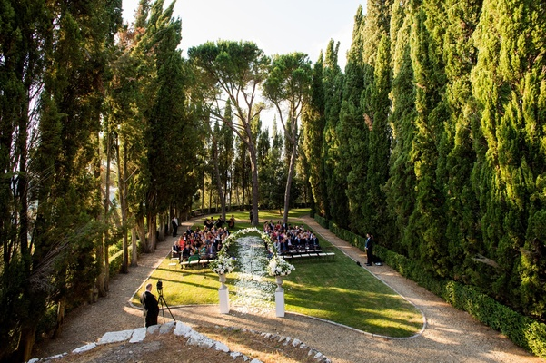 Wedding ceremony on the grounds of Castiglion del Bosco in Tuscany
