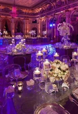 The Plaza ballroom wedding reception with purple lighting