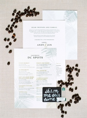 Welcome note with hashtag and list of favorite spots in the city destination wedding Starbucks card