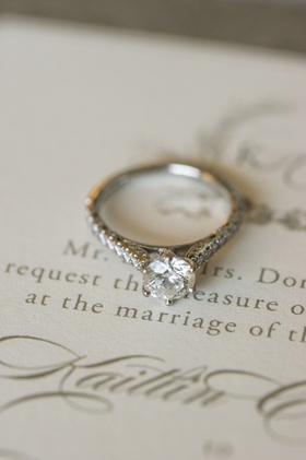 Round-cut diamond with six prong setting