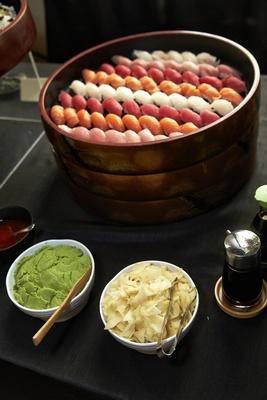 self-serve sushi station at wedding cocktail hour
