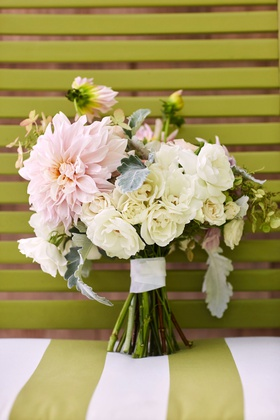 wedding bouquet with large pink dahlia flower white roses greenery dusty miller ribbon wrap