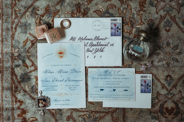 wedding invitation light blue gold design calligraphy envelope rsvp card black tie preferred