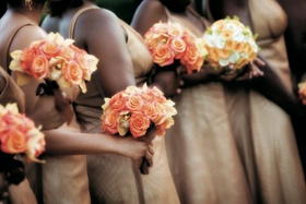 Fall bridesmaid bouquets with roses