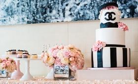 Black & white wedding shower cake with Chanel logo