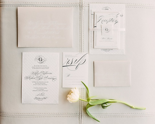 invitation suite in trendy neutral shades