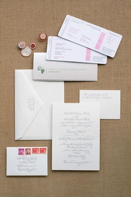Boarding pass travel theme wedding invitations