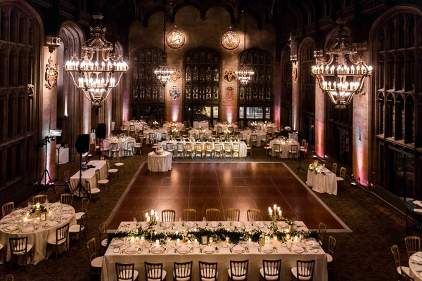 university club of chicago cathedral hall wedding, chandeliers, tables around dance floor