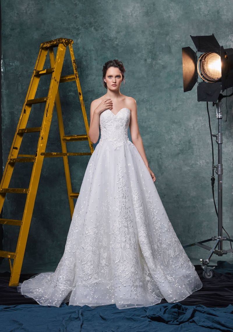 Sareh Nouri fall 2019 bridal collection wedding dress Penelope embroidered tulle sparkle lace A-line