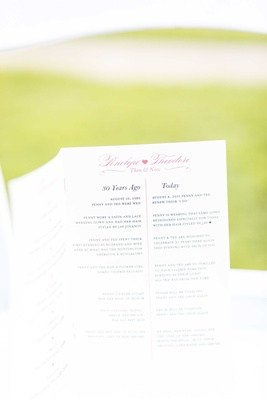 Wedding anniversary vow renewal program with similarities between wedding and vow renewal details