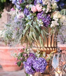 purple hydrangeas, blue flowers, pink roses, eucalyptus leaves