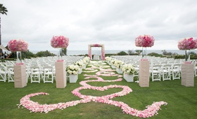 Flower petal aisle with swirl design at Montage Laguna Beach wedding