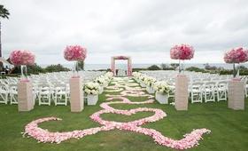 Flower petal aisle with swirl design at Montage Laguna Beach wedding