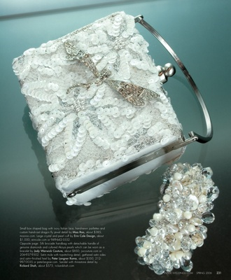 Small box-shaped bag with ivory Italian lace, hand-sewn paillettes and custom hand-cast dragon fly j