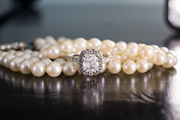 Pearl necklace bracelet with pave wedding ring halo engagement ring cushion cut diamond