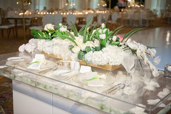 Sweetheart table gold box filled with white hydrangea roses, orchids, tulips, greenery floating