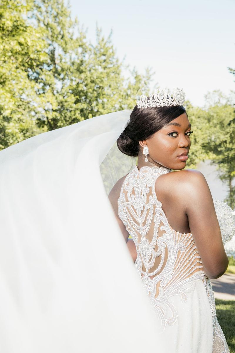 bride ghana african royalty in jewel beaded gown couture veil updo earrings tiara headpiece