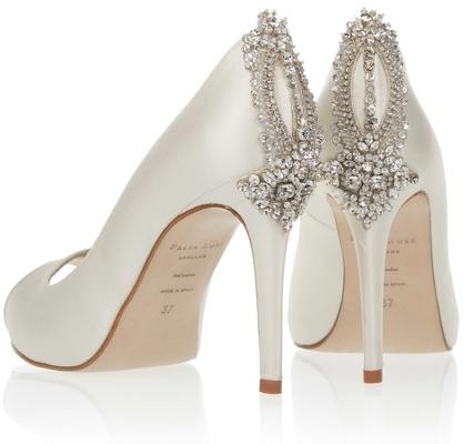 94e75107931 Freya Rose Astoria peep toe wedding shoe with crystal beads on back of heel.