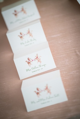 escort cards illustrations couple's dogs sheltie mutt creative custom southern wedding