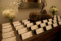 Rustic wedding brown place cards on wintry table