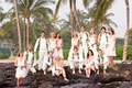 Bridesmaids and groomsmen in ivory clothes