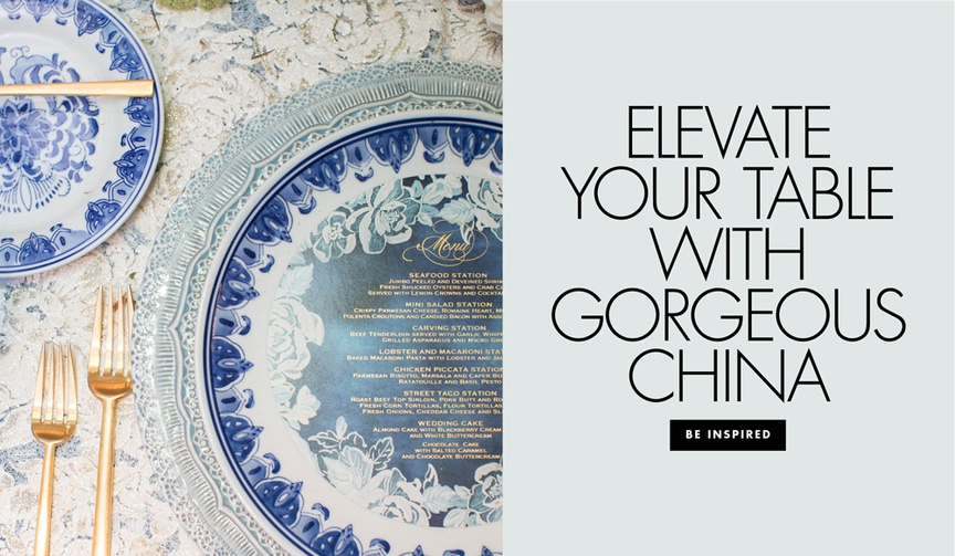 Elevate your wedding reception table with gorgeous china patterns on tables
