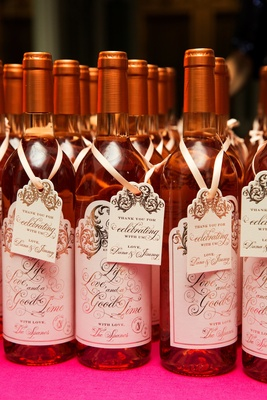 Custom wine bottle labels and tags with gilt script