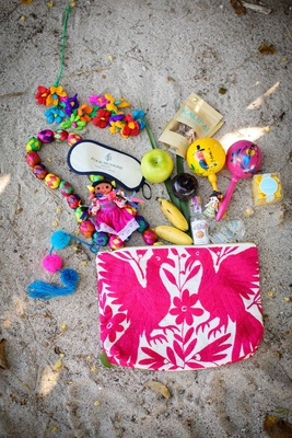 colorful gift bags destination styled shoot punta mita mexico wedding four seasons knick knacks