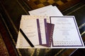 Purple and gold wedding invites and envelope