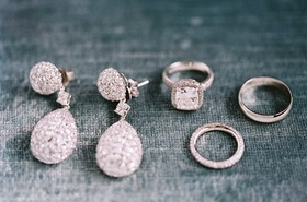 Bridal wedding day jewelry teardrop earrings engagement ring