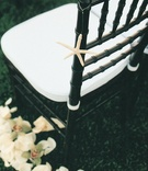 black chiavari chair accented with tiny white seashell